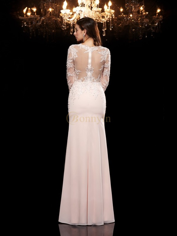 Pink Chiffon Scoop Trumpet/Mermaid Floor-Length Evening Dresses