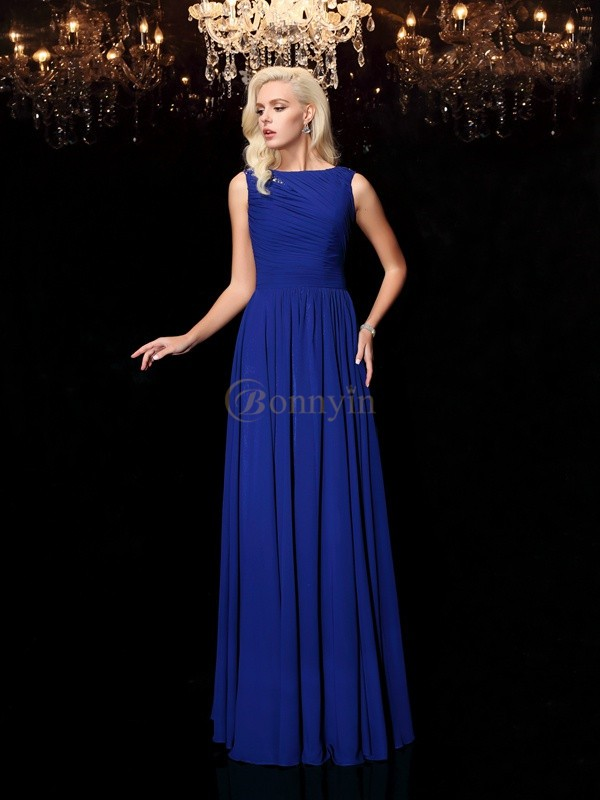 Royal Blue Chiffon Bateau A-Line/Princess Floor-Length Evening Dresses