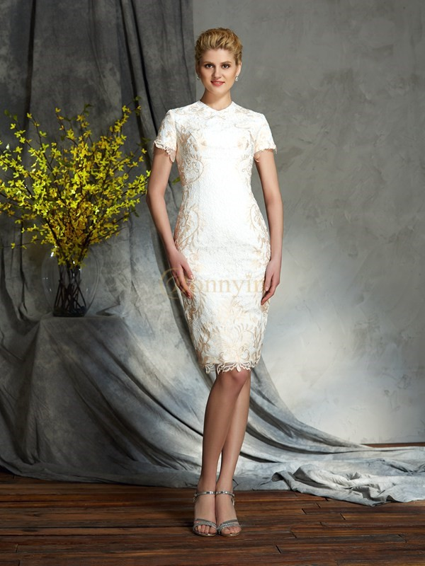 Champagne Lace Jewel Sheath/Column Short/Mini Mother of the Bride Dresses
