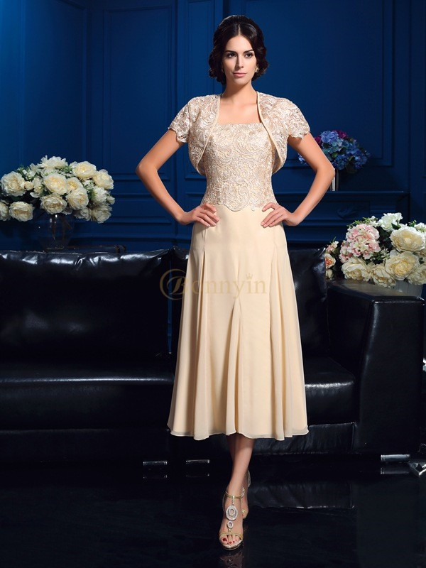 Champagne Chiffon Square A-Line/Princess Knee-Length Mother of the Bride Dresses