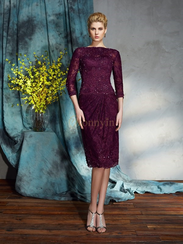 Burgundy Lace Bateau Sheath/Column Knee-Length Mother of the Bride Dresses