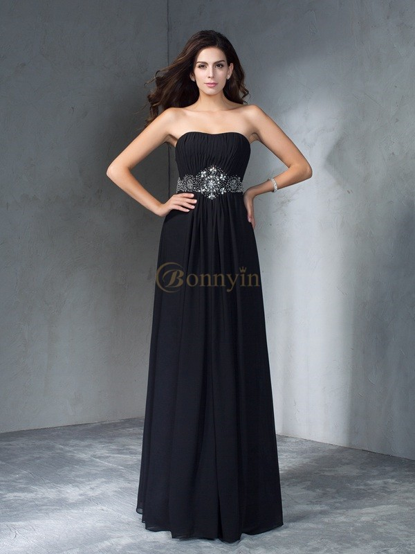 Black Chiffon Strapless A-Line/Princess Floor-Length Prom Dresses