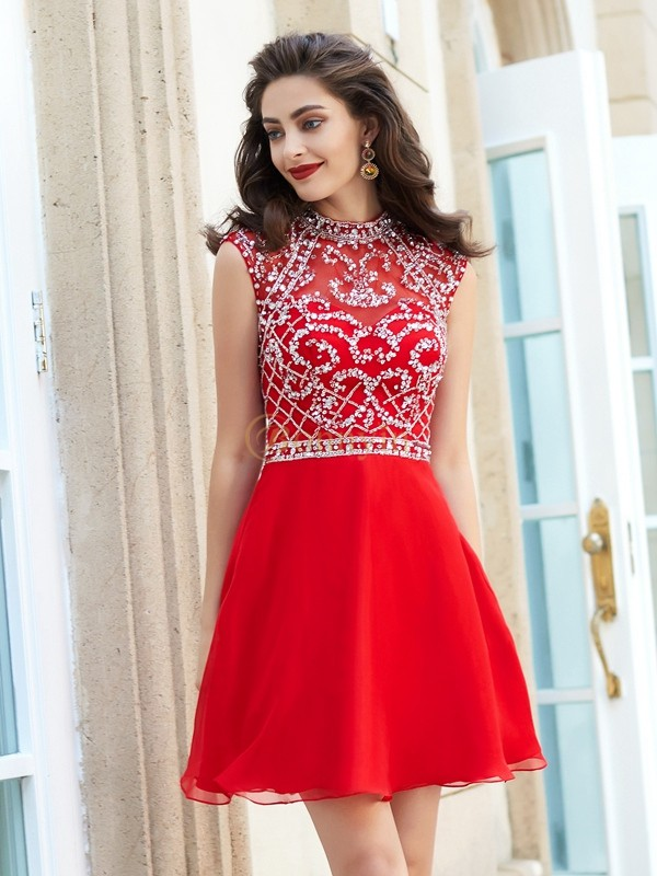 Red Chiffon High Neck A-Line/Princess Short/Mini Homecoming Dresses