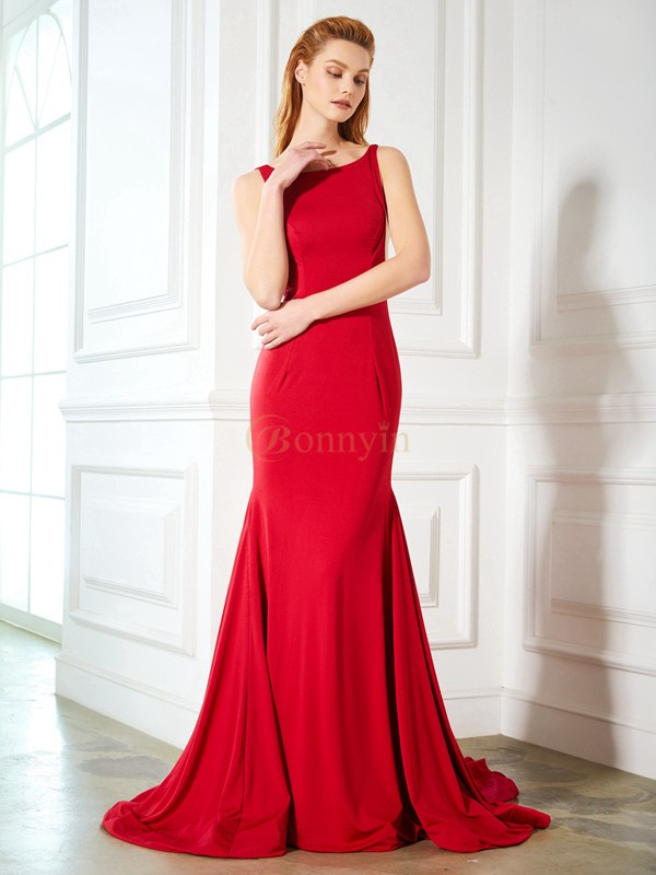 Red Spandex Straps Trumpet/Mermaid Sweep/Brush Train Prom Dresses