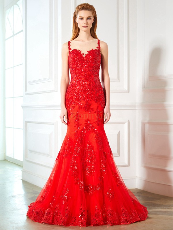Red Tulle Sheer Neck Trumpet/Mermaid Sweep/Brush Train Prom Dresses