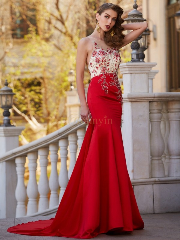 Red Stain Sheer Neck Trumpet/Mermaid Court Train Dresses