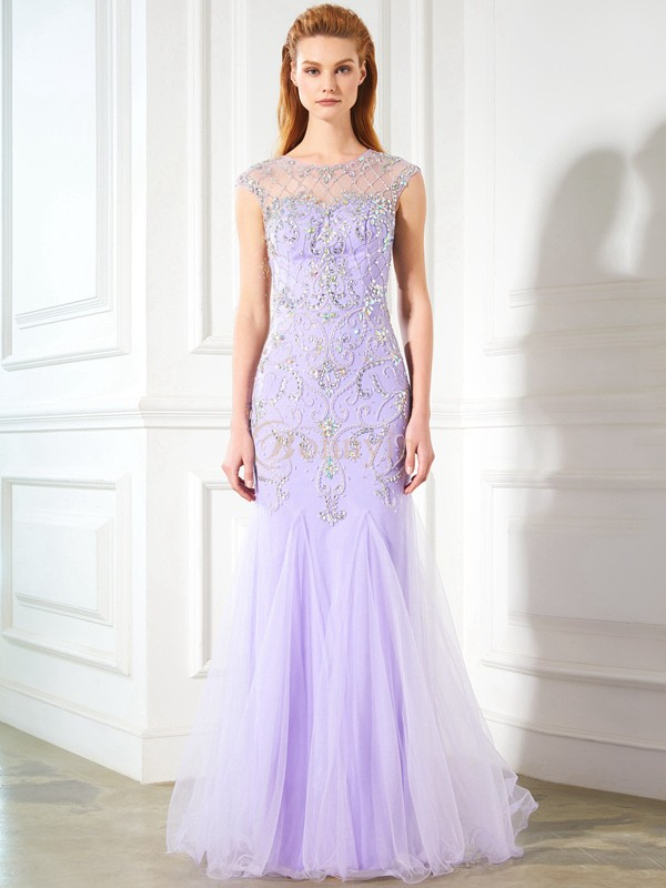 Lilac Tulle Scoop Trumpet/Mermaid Floor-Length Prom Dresses
