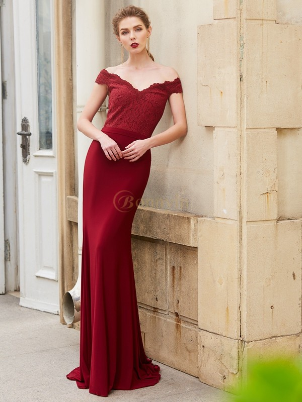 Burgundy Spandex Off-the-Shoulder Trumpet/Mermaid Sweep/Brush Train Dresses