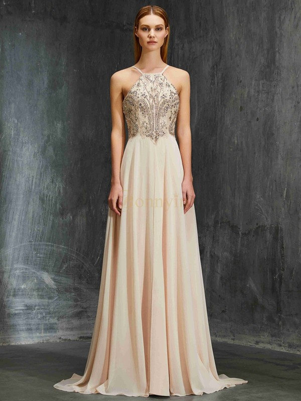 Champagne Chiffon Spaghetti Straps A-Line/Princess Sweep/Brush Train Prom Dresses