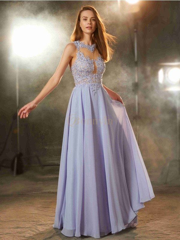 Lavender Chiffon Scoop A-Line/Princess Floor-Length Prom Dresses