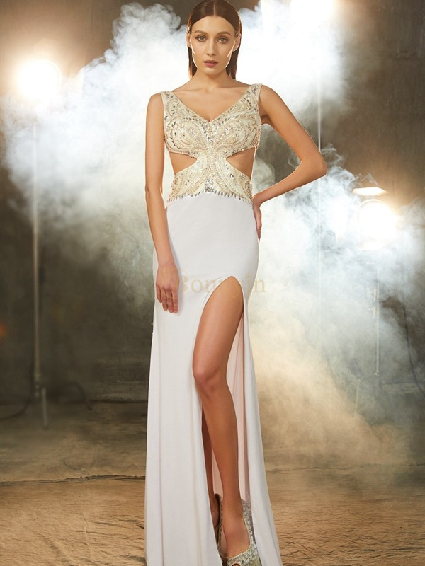 White Spandex V-neck Sheath/Column Floor-Length Prom Dresses