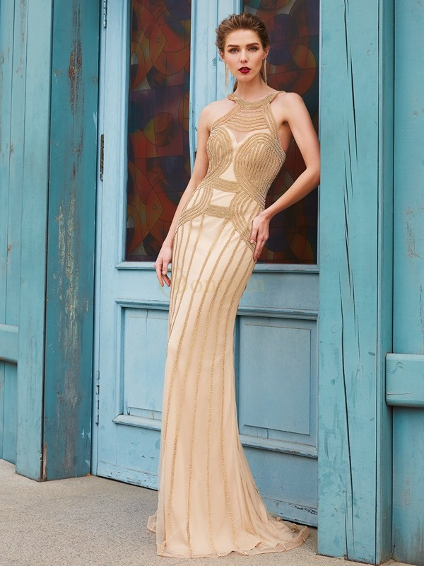 Gold Net High Neck Sheath/Column Sweep/Brush Train Prom Dresses