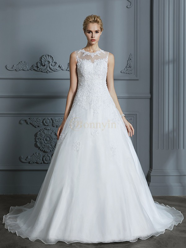 Ivory Organza Scoop Ball Gown Court Train Wedding Dresses