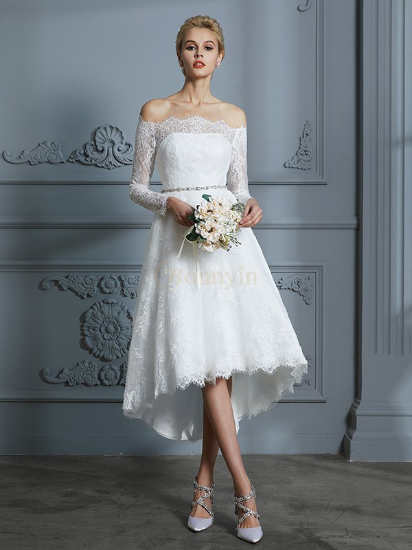 Ivory Lace Off-the-Shoulder A-Line/Princess Asymmetrical Wedding Dresses
