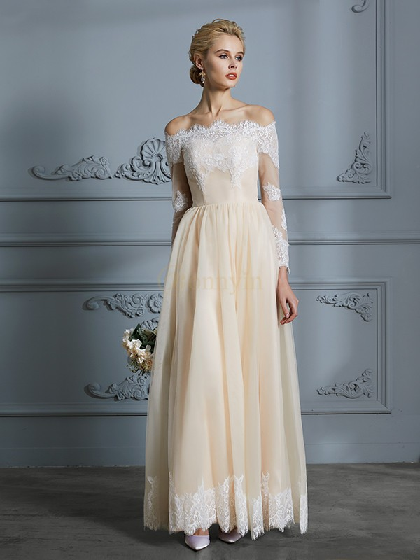 Champagne Tulle Off-the-Shoulder A-Line/Princess Floor-Length Wedding Dresses