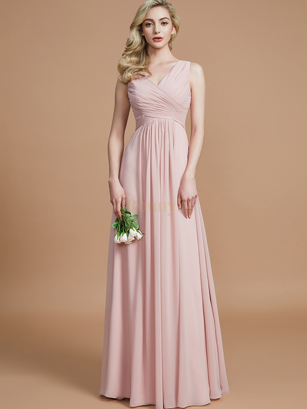 Pearl Pink Chiffon V-neck A-Line/Princess Floor-Length Bridesmaid Dresses