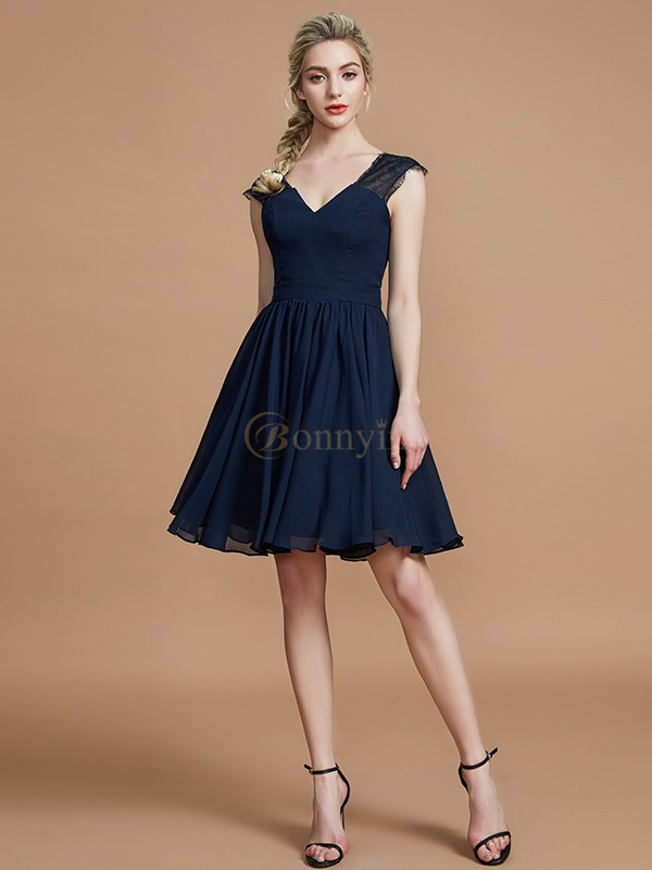 Dark Navy Chiffon V-neck A-Line/Princess Knee-Length Bridesmaid Dresses