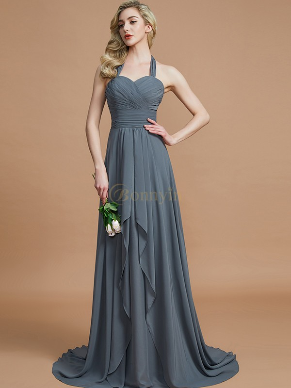 Brown Chiffon Halter A-Line/Princess Sweep/Brush Train Bridesmaid Dresses
