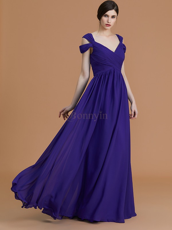 Regency Chiffon Off-the-Shoulder A-Line/Princess Floor-Length Bridesmaid Dresses