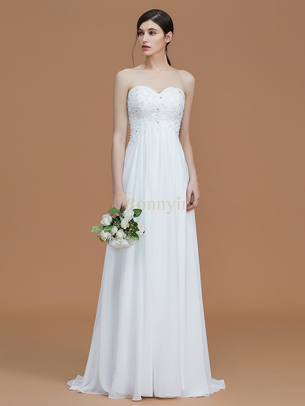 Ivory Chiffon Sweetheart A-Line/Princess Sweep/Brush Train Bridesmaid Dresses