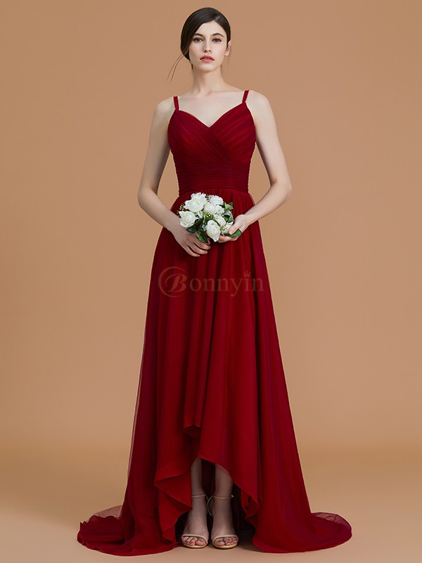 Burgundy Chiffon Spaghetti Straps A-Line/Princess Asymmetrical Bridesmaid Dresses