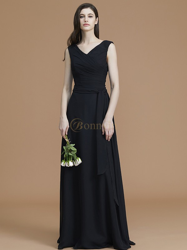 Black Chiffon V-neck A-Line/Princess Floor-Length Bridesmaid Dresses