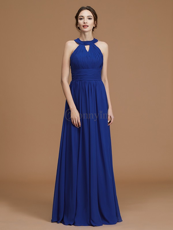 Royal Blue Chiffon Halter A-Line/Princess Floor-Length Bridesmaid Dresses