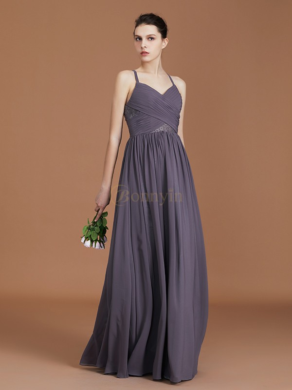 Grey Chiffon Spaghetti Straps A-Line/Princess Floor-Length Bridesmaid Dresses
