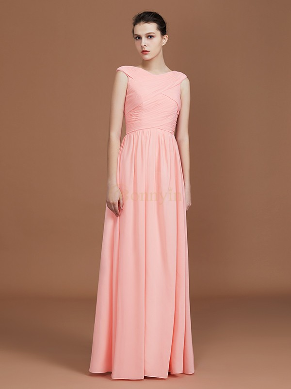 Pink Chiffon V-neck A-Line/Princess Floor-Length Bridesmaid Dresses