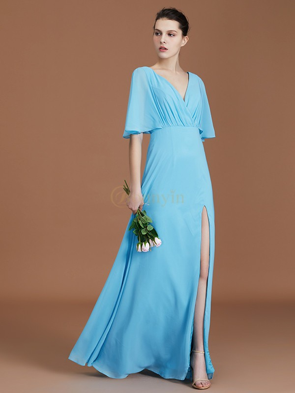 Blue Chiffon V-neck A-Line/Princess Floor-Length Bridesmaid Dresses