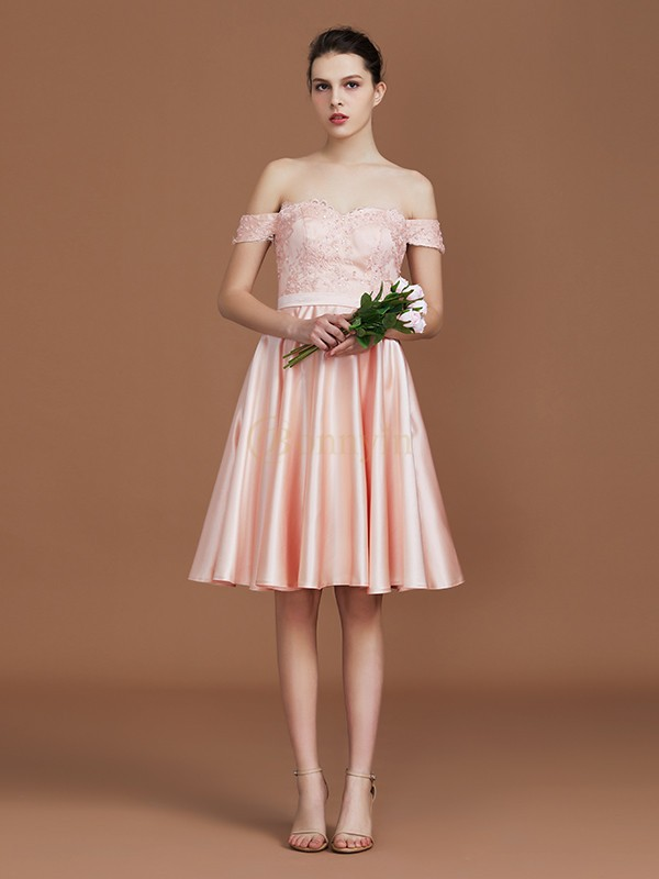 Pearl Pink Satin Sweetheart A-Line/Princess Knee-Length Bridesmaid Dresses