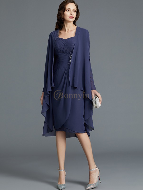 Dark Navy Chiffon Sweetheart Sheath/Column Knee-Length Mother of the Bride Dresses