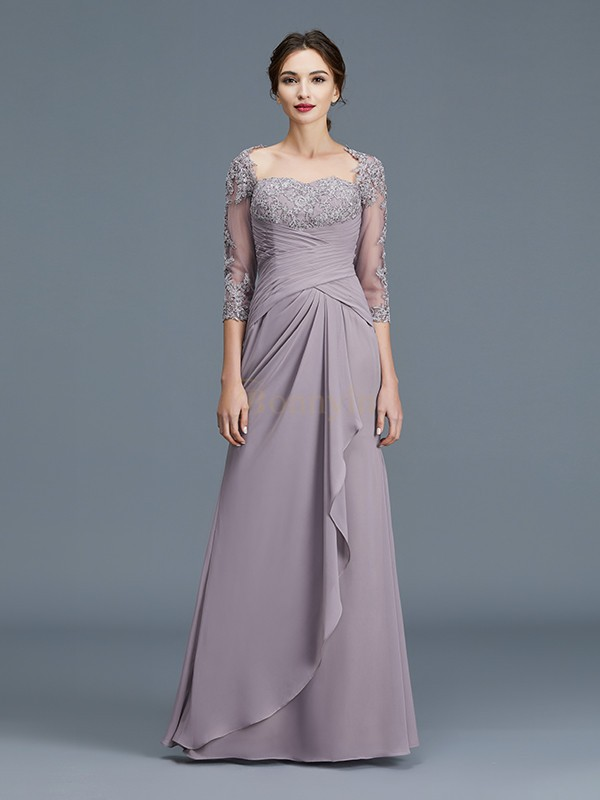 Lilac Chiffon Sweetheart Sheath/Column Floor-Length Mother of the Bride Dresses