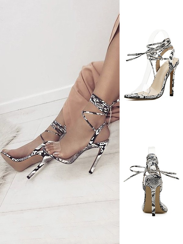 Women's Stiletto Heel PU With Lace Up Peep Toe Sandals
