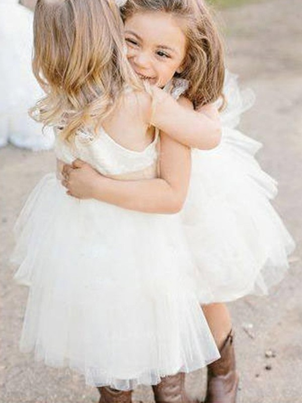 Ivory Tulle Square A-Line/Princess Knee-Length Flower Girl Dresses