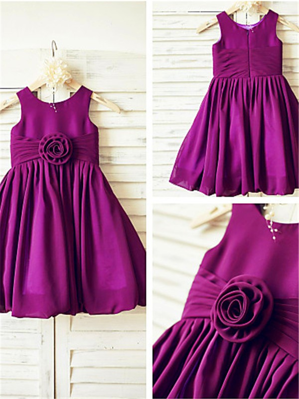 Fuchsia Chiffon Straps A-line/Princess Tea-Length Flower Girl Dresses