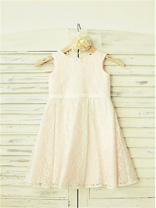 Pearl Pink Lace Jewel A-line/Princess Tea-Length Flower Girl Dresses