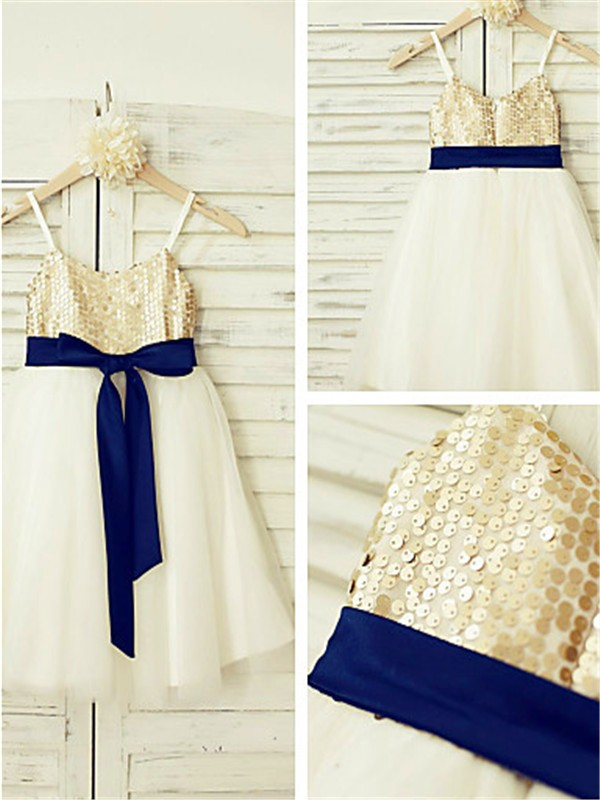Gold Tulle Spaghetti Straps A-line/Princess Ankle-Length Flower Girl Dresses