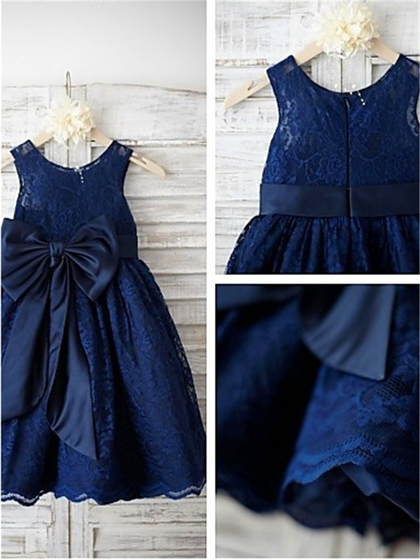 Dark Navy Lace Scoop A-line/Princess Tea-Length Flower Girl Dresses