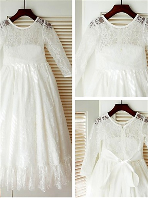 White Lace Scoop A-line/Princess Ankle-Length Flower Girl Dresses