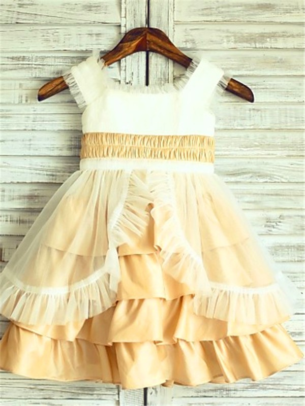 Gold Satin Square A-line/Princess Tea-Length Flower Girl Dresses