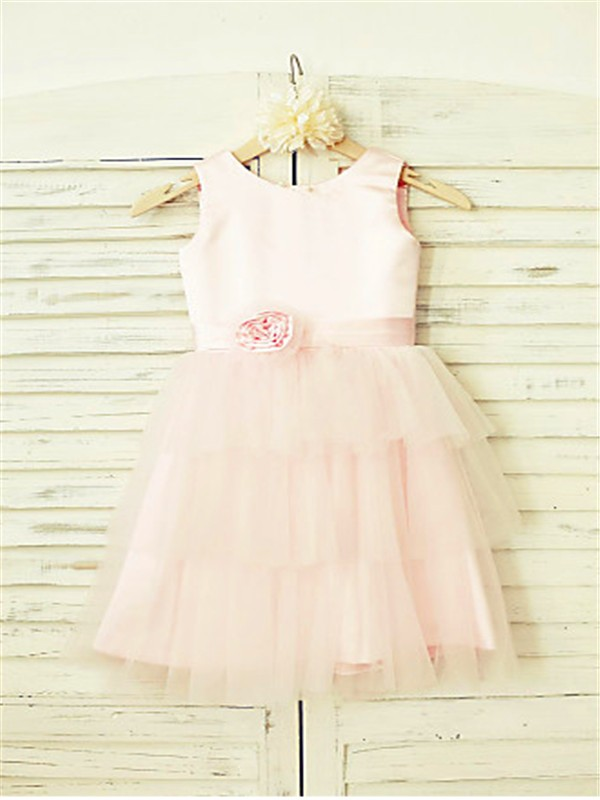 Pearl Pink Tulle Scoop A-line/Princess Tea-Length Flower Girl Dresses