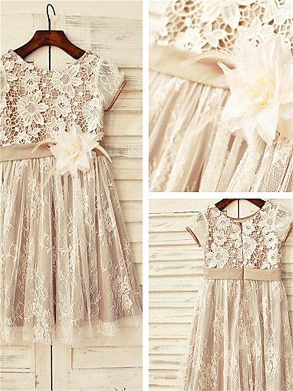 Brown Lace Scoop A-line/Princess Tea-Length Flower Girl Dresses
