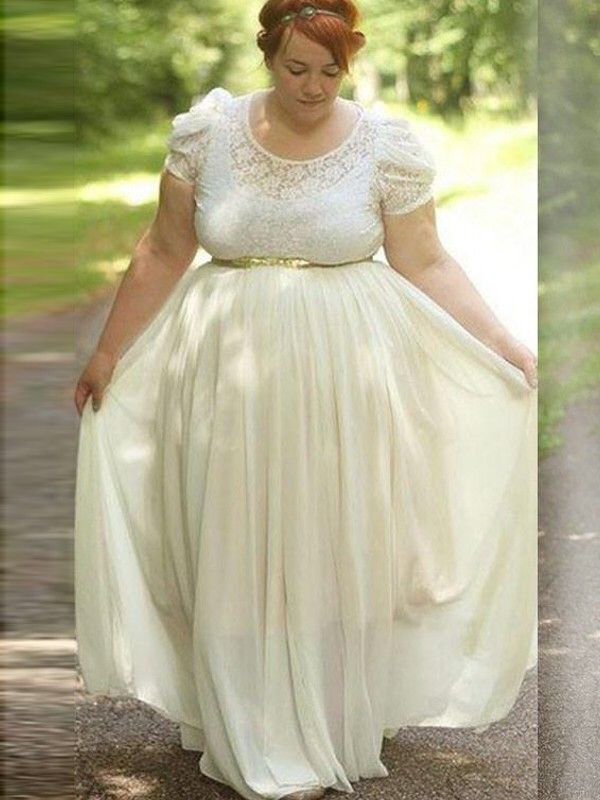 Ivory Chiffon Scoop A-Line/Princess Floor-Length Plus Size Dresses