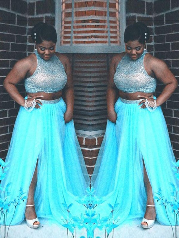 Blue Tulle High Neck A-Line/Princess Sweep/Brush Train Plus Size Dresses