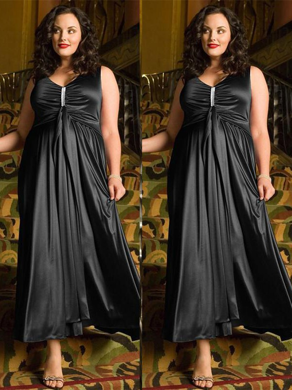 Black Elastic Woven Satin V-neck A-Line/Princess Ankle-Length Plus Size Dresses