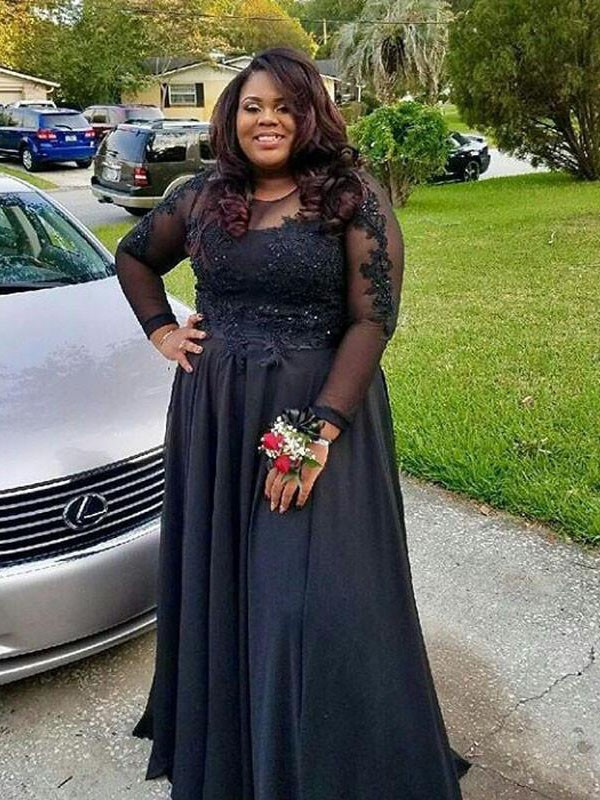Black Chiffon Sheer Neck a-Line/Princess Floor-Length Plus Size Dresses