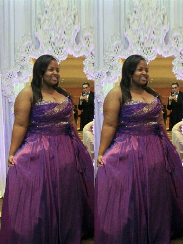 Grape Satin Sweetheart A-Line/Princess Floor-Length Plus Size Dresses