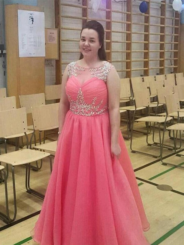 Watermelon Chiffon Sheer Neck A-Line/Princess Floor-Length Plus Size Dresses