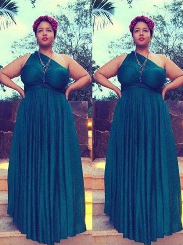 Dark Green Chiffon One-Shoulder A-Line/Princess Floor-Length Plus Size Dresses
